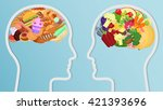 health and unhealthy food eat... | Shutterstock .eps vector #421393696