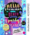 hello summer beach party.... | Shutterstock .eps vector #421393912