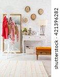 modern brick wall winter style... | Shutterstock . vector #421396282