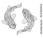 zentangle stylized couple of... | Shutterstock .eps vector #421403422
