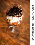 tiramisu in a glass for wine on ... | Shutterstock . vector #421407295