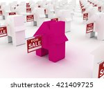 house colored  for sale  3d... | Shutterstock . vector #421409725