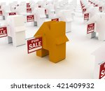 house colored  for sale  3d... | Shutterstock . vector #421409932