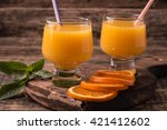citrus juice and fruits on... | Shutterstock . vector #421412602