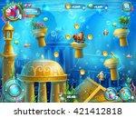 atlantis ruins playing field  ... | Shutterstock .eps vector #421412818