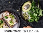 ricotta  avocado  radish and... | Shutterstock . vector #421414216