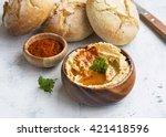 hummus.chickpeas and sesame oil ... | Shutterstock . vector #421418596