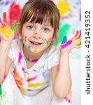 portrait of a cute cheerful... | Shutterstock . vector #421419352