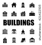buildings icons set | Shutterstock .eps vector #421422505