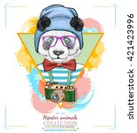portrait of fashion panda ... | Shutterstock .eps vector #421423996