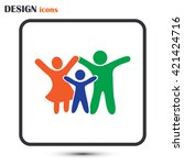 happy family icon in simple... | Shutterstock .eps vector #421424716