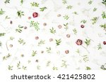 pink roses and green leaves on... | Shutterstock . vector #421425802