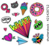 A set of quirky cartoon patch badges or fashion pin badges | Shutterstock vector #421428712