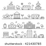 city landscapes set in linear... | Shutterstock .eps vector #421430785