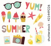 summer vector clip art set.... | Shutterstock .eps vector #421449226