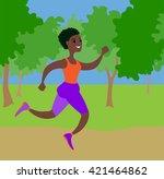 running girl on white  afro... | Shutterstock .eps vector #421464862