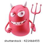 Red Devil Emoticon Face. 3d...