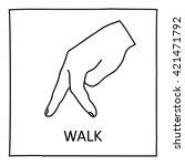 Doodle Walk Icon. Hand Drawn...