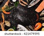 Fresh Seafood On Black Stone ...