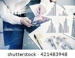 banker manager working process... | Shutterstock . vector #421483948