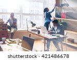 young startup group working in... | Shutterstock . vector #421486678