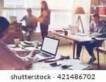 team working in big loft office.... | Shutterstock . vector #421486702