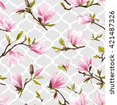 Stock vector seamless floral pattern magnolia flowers and leaves geometry background exotic vector design 421487326
