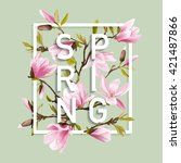 floral graphic design. magnolia ... | Shutterstock .eps vector #421487866