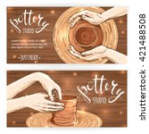 banners or postcards with... | Shutterstock .eps vector #421488508