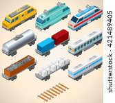 abstract trains. 3d isometric... | Shutterstock . vector #421489405