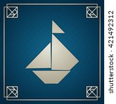 tangram sailboat. traditional... | Shutterstock .eps vector #421492312