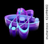 science icon  3d neon glowing
