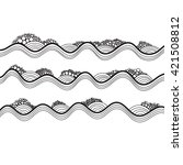 vector hand drawn waves and... | Shutterstock .eps vector #421508812