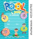 pool party. invitation template ... | Shutterstock .eps vector #421513702