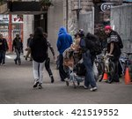 Small photo of VANCOUVER, BC, CANADA - MAY 11, 2016: A all too common scene of homelessness and poverty that is Vancouver's Downtown Eastside.