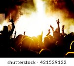 silhouettes of concert crowd in ... | Shutterstock . vector #421529122