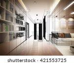 sketch design of living room ...   Shutterstock . vector #421553725