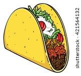 vector illustration of a taco. | Shutterstock .eps vector #421564132