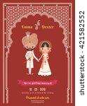 indian wedding bride   groom... | Shutterstock .eps vector #421582552