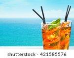 refreshing lemonade with... | Shutterstock . vector #421585576