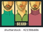 hand drawn. portraits of three... | Shutterstock .eps vector #421586686
