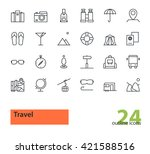 travel. set of thin line vector ... | Shutterstock .eps vector #421588516