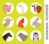 Flat  Icons With Farm Animals....
