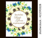 invitation with floral...   Shutterstock . vector #421593328