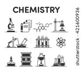 icons microscope  book  formula ... | Shutterstock .eps vector #421600936