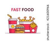 fast food  chicken  soda ... | Shutterstock .eps vector #421600966