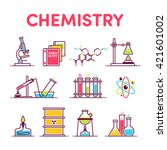 icons microscope  book  formula ... | Shutterstock .eps vector #421601002