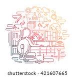 illustration of vector modern... | Shutterstock .eps vector #421607665