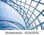 abstract blue wall interior...