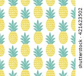 fun pineapple seamless pattern... | Shutterstock .eps vector #421623502